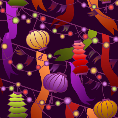 seamless pattern - colorful carnival lights and ornaments