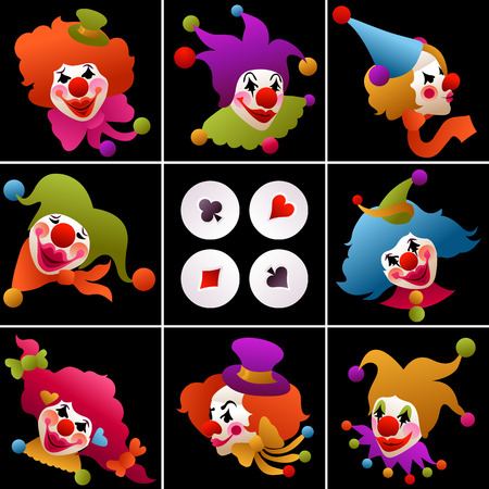 set of cards - colorfully costumed and painted clown portraits Vectores