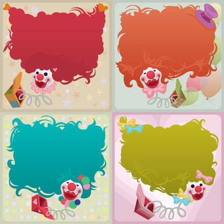 jack in the box: set of cards - colorful jack in the box puppets popping out of boxes Illustration
