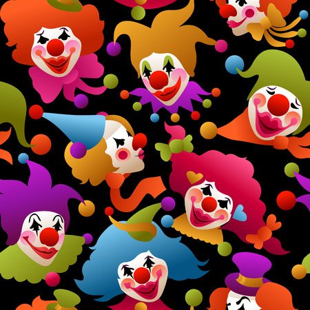 seamless pattern - colorfully costumed and painted clown portraits