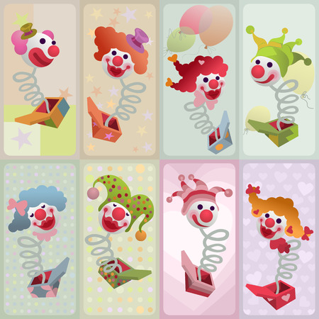 set of cards - colorful jack in the box puppets popping out of boxes Ilustracja