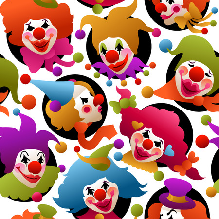 colorfully: seamless pattern - colorfully costumed and painted clown portraits