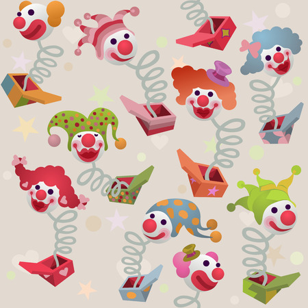 outside the box: seamless pattern - colorful jack in the box puppets popping out of boxes