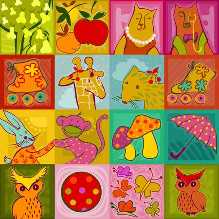 zökkenőmentes minta - színes aranyos állatok, játékok és növények egy ellenőrzött háttér