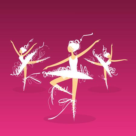 set of dynamic doodle ballet dancers on a stage