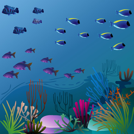 pretty underwater environment with colorful vegetation - eps10 image