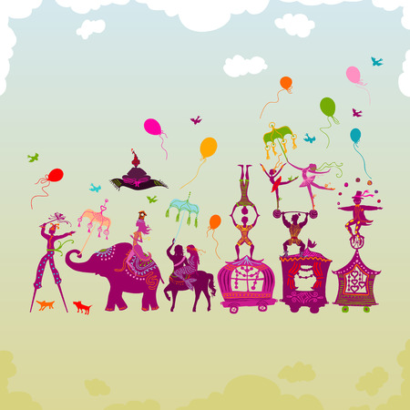 wagon: traveling colorful circus caravan with magician, elephant, dancer, acrobat and various fun characters in one row during daylight Illustration