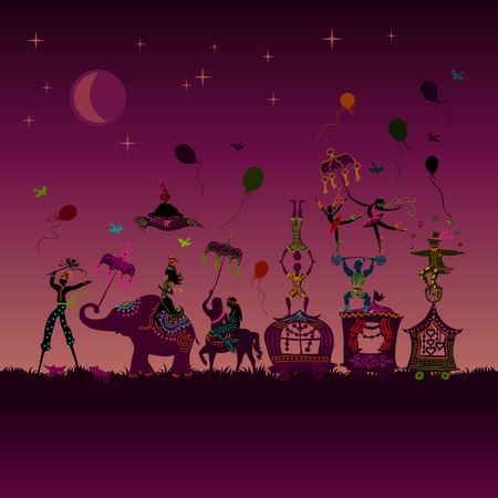 traveling colorful circus caravan with magician, elephant, dancer, acrobat and various fun characters in one row at night Ilustracja