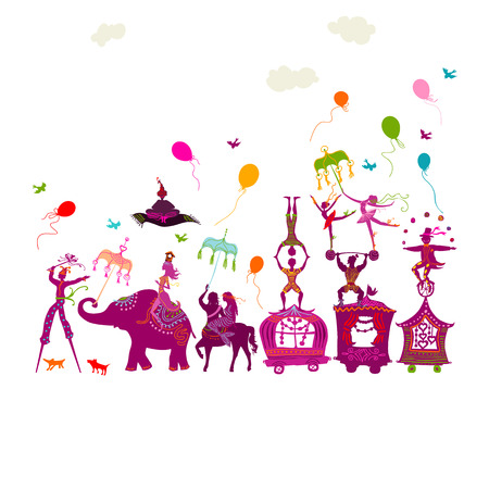 wagon: traveling colorful circus caravan with magician, elephant, dancer, acrobat and various fun characters in one row on white background