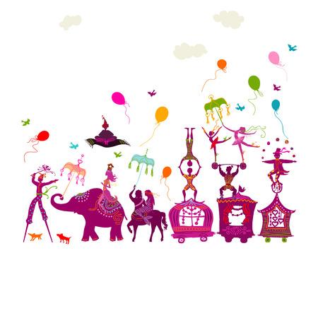 utazó színes cirkuszi lakókocsi bűvész, elefánt, táncos, artista és különféle szórakoztató karakter egy sorban fehér alapon Illusztráció