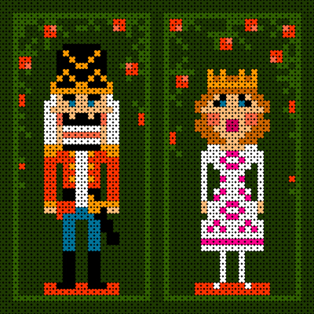 punto cruz: punto de cruz textura colorida tarjeta de Navidad con el cascanueces y la princesa Vectores