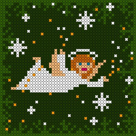 cross-stitch textured christmas card with angel flying among snow flakes