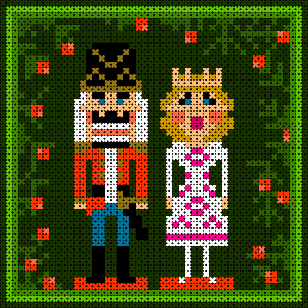 cross-stitch textured colorful christmas card with nutcracker and princess Ilustracja