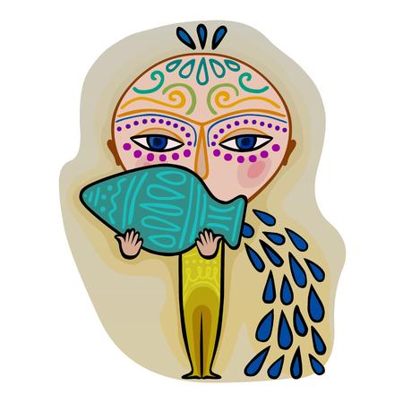 színes aranyos eredeti állatöv jel - Vízöntő