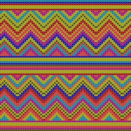 cross stitch: seamless pattern - decorative colorful ethnic cross stitch textured illustration featuring geometric forms Illustration
