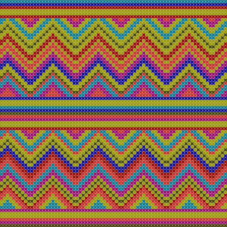 seamless pattern - decorative colorful ethnic cross stitch textured illustration featuring geometric forms Ilustracja