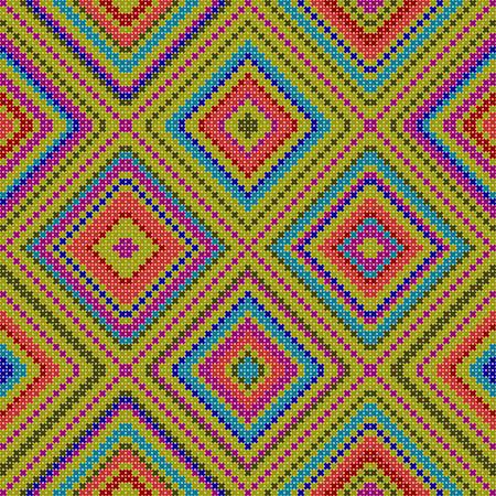 decorative pattern: seamless pattern - decorative colorful ethnic cross stitch textured illustration featuring geometric forms Illustration