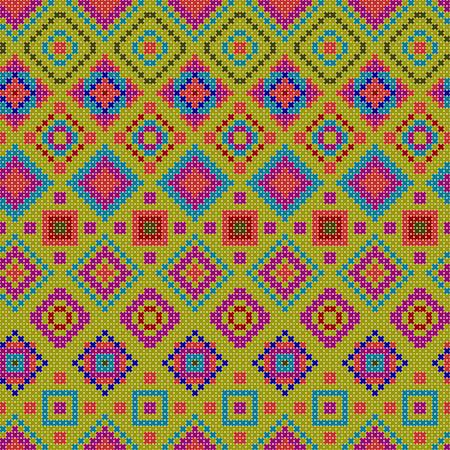 varrat nélküli minta - dekoratív színes etnikai keresztszemes mintás illusztráció jellemző geometrikus formák Illusztráció
