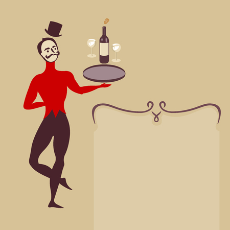ballet dancer waiter with wine - minimalistic art deco style illustration with place for text