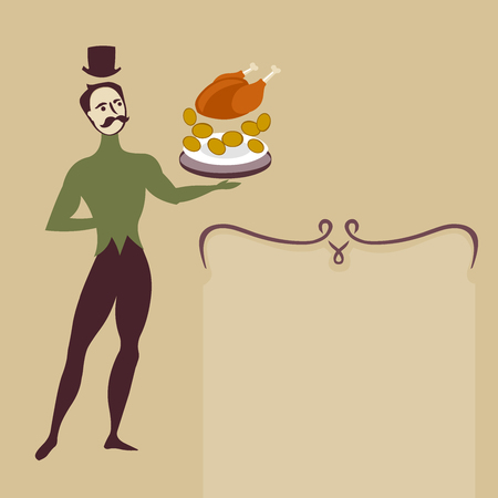 ballet dancer waiter with food plate - minimalistic art deco style illustration with place for text