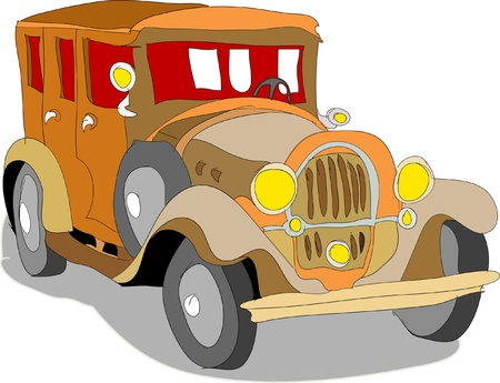 car side view: Retro car Illustration