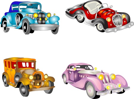 old fashioned: Set of retro cars