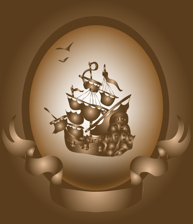 Old ship and banner Vector