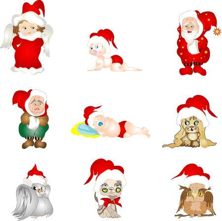 Set of Christnas characters Vector