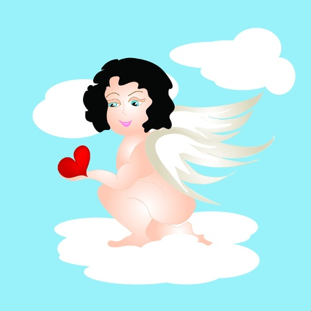 Angel and heart Stock Vector - 11933861