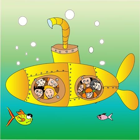 woman underwater: Yellow submarine
