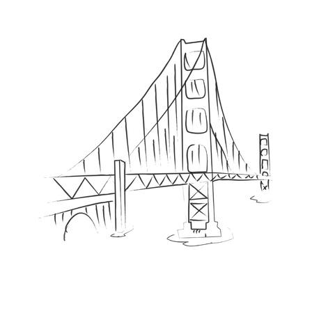 golden gate: Bridge Illustration