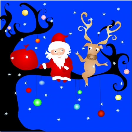 Santa on the tree Vector
