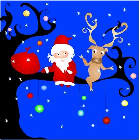 Santa on the tree Illustration