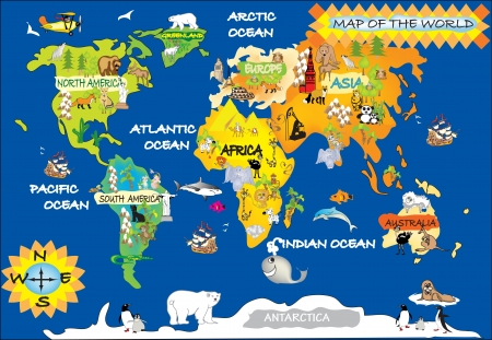 cartoon whale: Map of the world Stock Photo