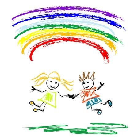 dessin enfants: Enfants de moins de rainbow