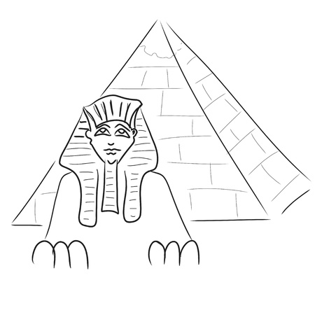 Sphinx and piramid Vector