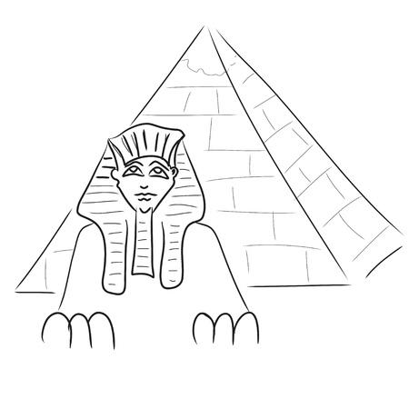 Sphinx and piramid Illustration