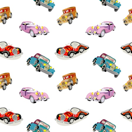 Retro cars seamless isolated pattern Vector