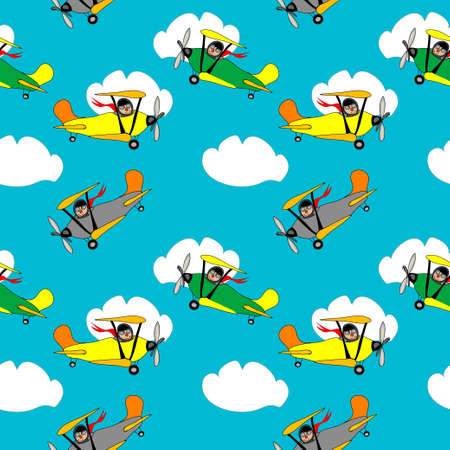 clowds: Airplane seamless pattern Illustration