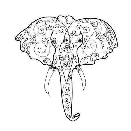 line drawings: Elephant s head tattoo