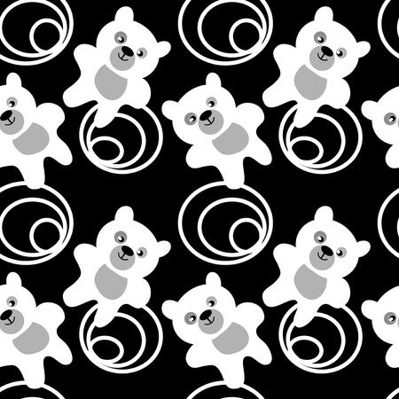 White teddy bear seamless pattern Vector