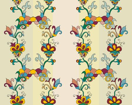 Floral stripes seamless pattern Vector