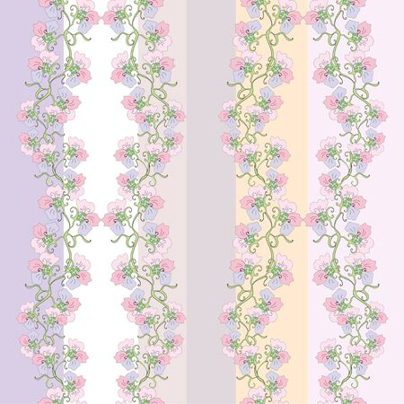 Flowers stripes seamless pattern Vector