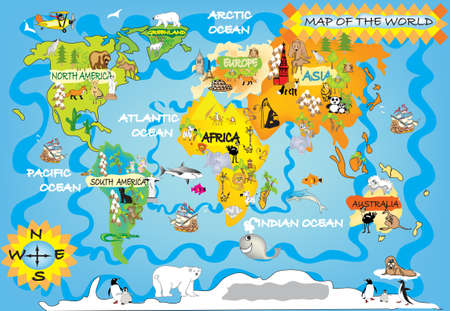 geography map: Kid s world map
