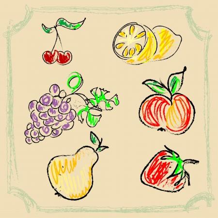 kitchen scraps: Fruits doodles
