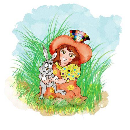 Girl and bunny photo