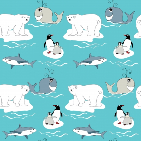 polar bear on the ice: Polar animals seamless pattern Illustration
