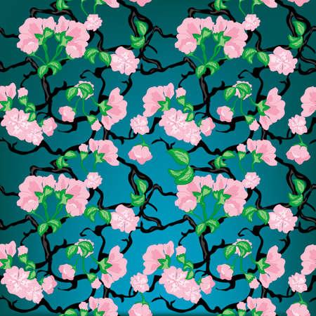 Cherry flowers seamless pattern Stock Vector - 18055810