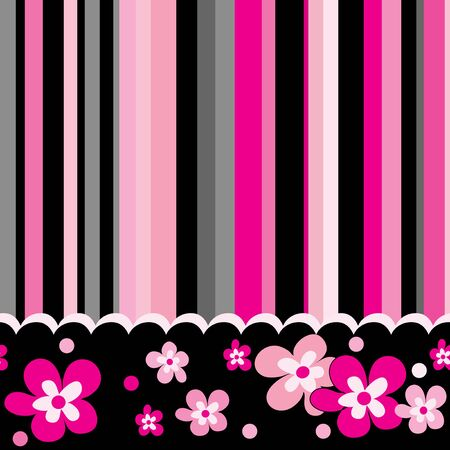 pink and black: Floral seamless border