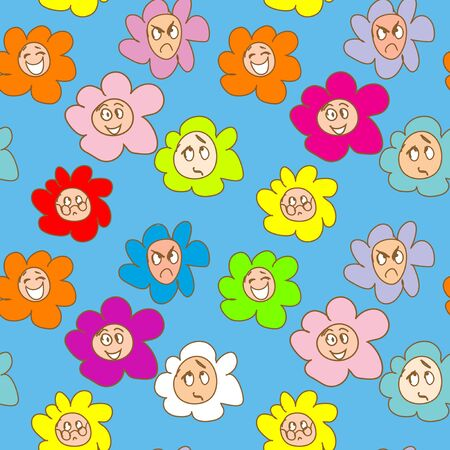 Emoticon Doodles seamless Pattern Vector